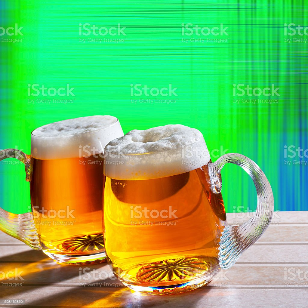 two beer on the table with modern background stock photo