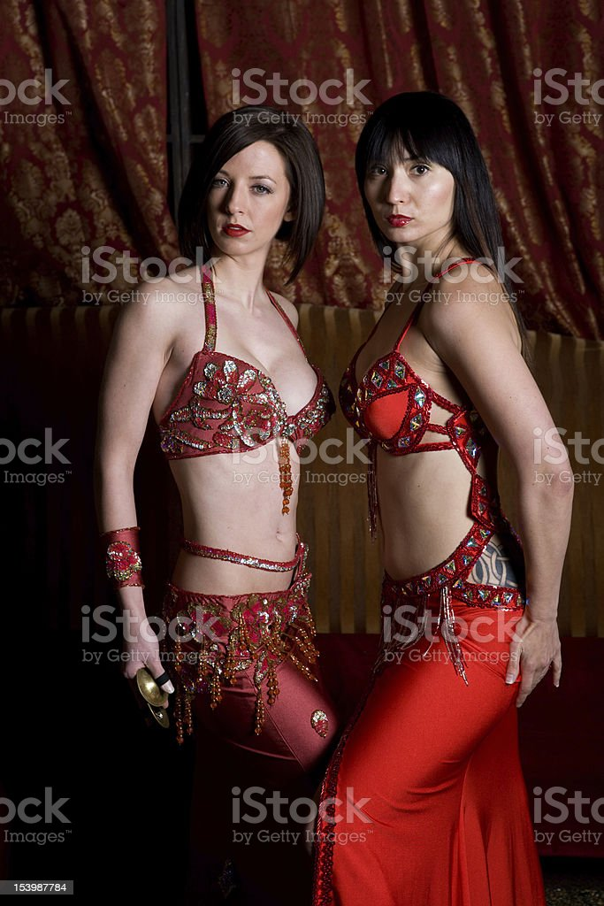 Two Belly Dancers Pose royalty-free stock photo