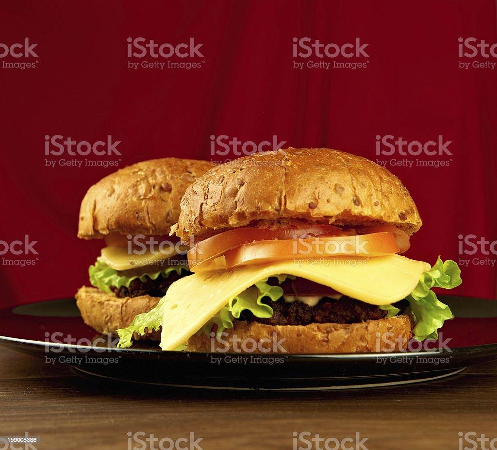 Two big hamburgers royalty-free stock photo
