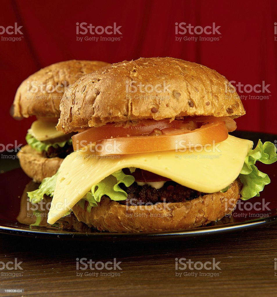 Two big hamburgers royalty-free stock photo