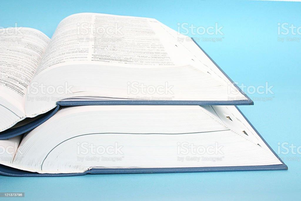 Two big opened books stock photo