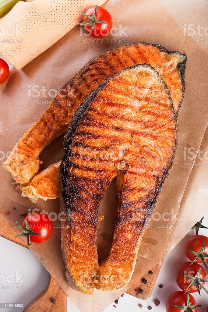 Two big salmon steaks royalty-free stock photo