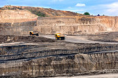 Two big truck on open pit