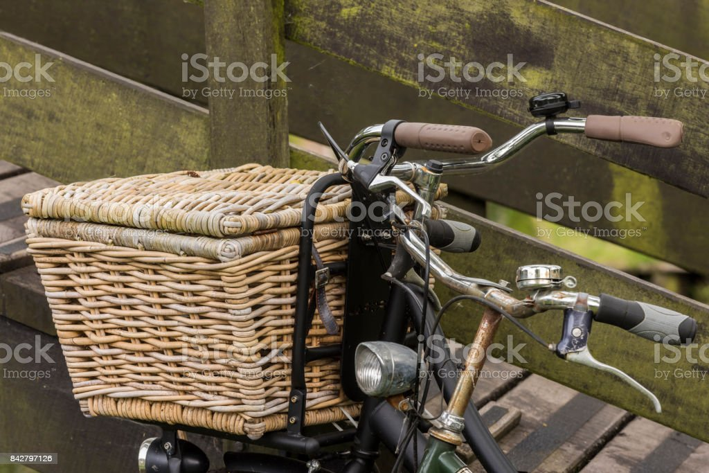 Two Bikes with Basket stock photo