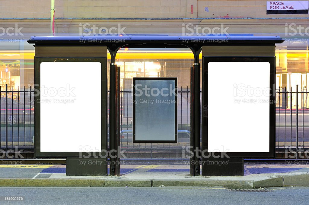 Two Billboards at Train Stop stock photo