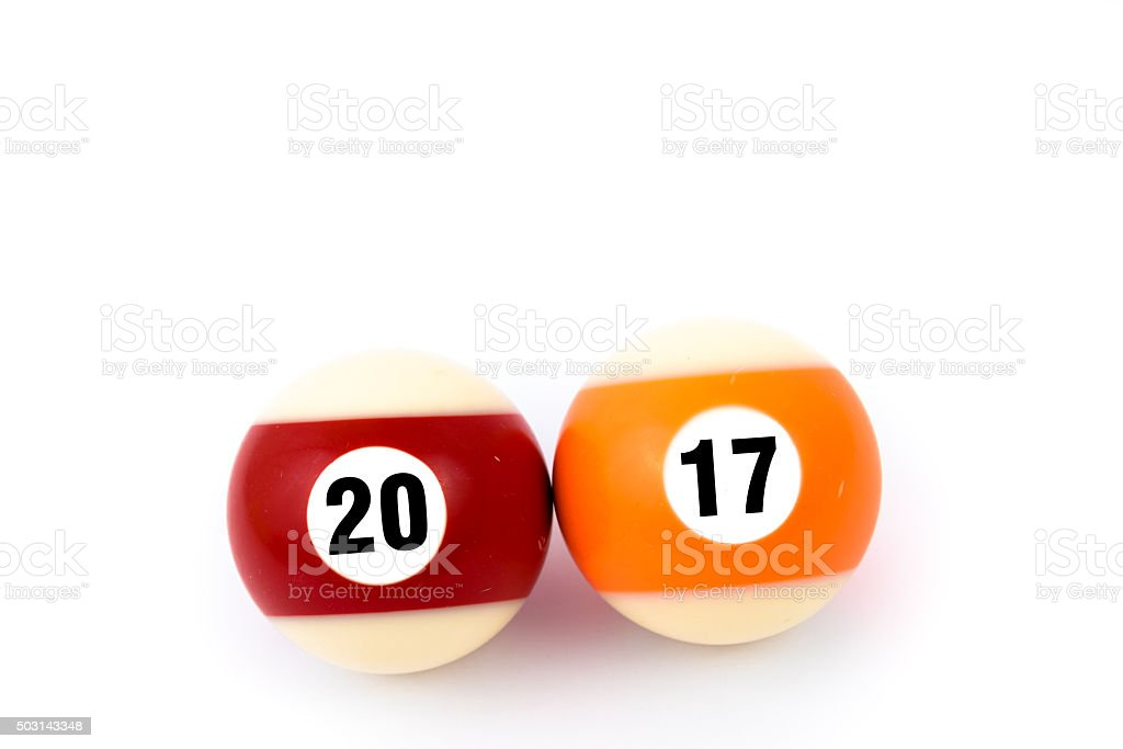 Two billiard balls showing together year 2017 stock photo