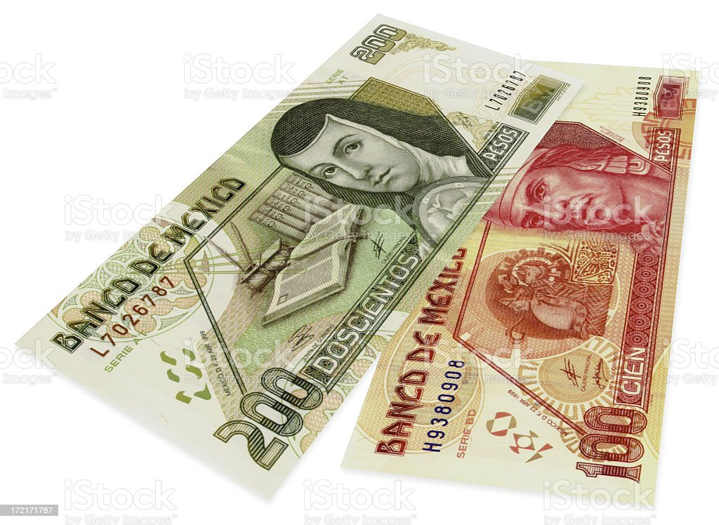 Two bills of mexican pesos stock photo