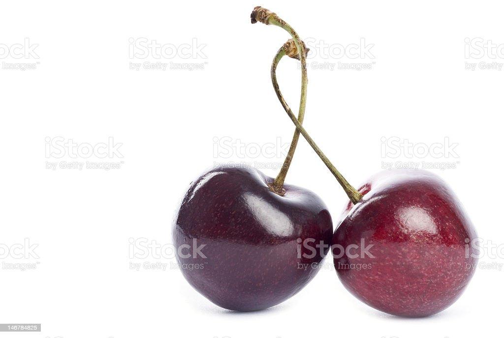 Two Bing Cherries stock photo