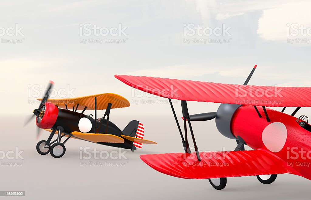 Two biplanes on the ground. Clipping path available. stock photo