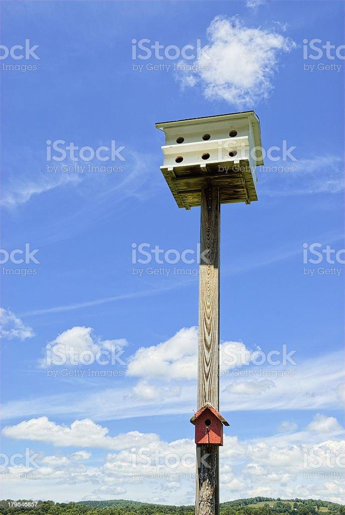 Two Birdhouses on Wood Pole stock photo