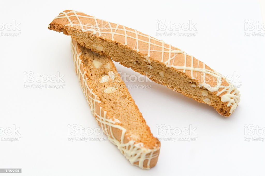 Two Biscotti on a white background royalty-free stock photo