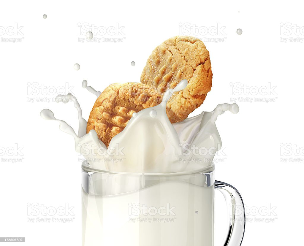 Two biscuits falling into a mug of  milk, splashing. stock photo