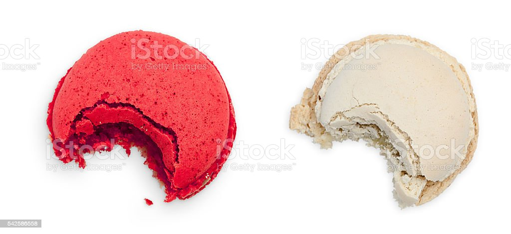 Two Bitten Macarons stock photo
