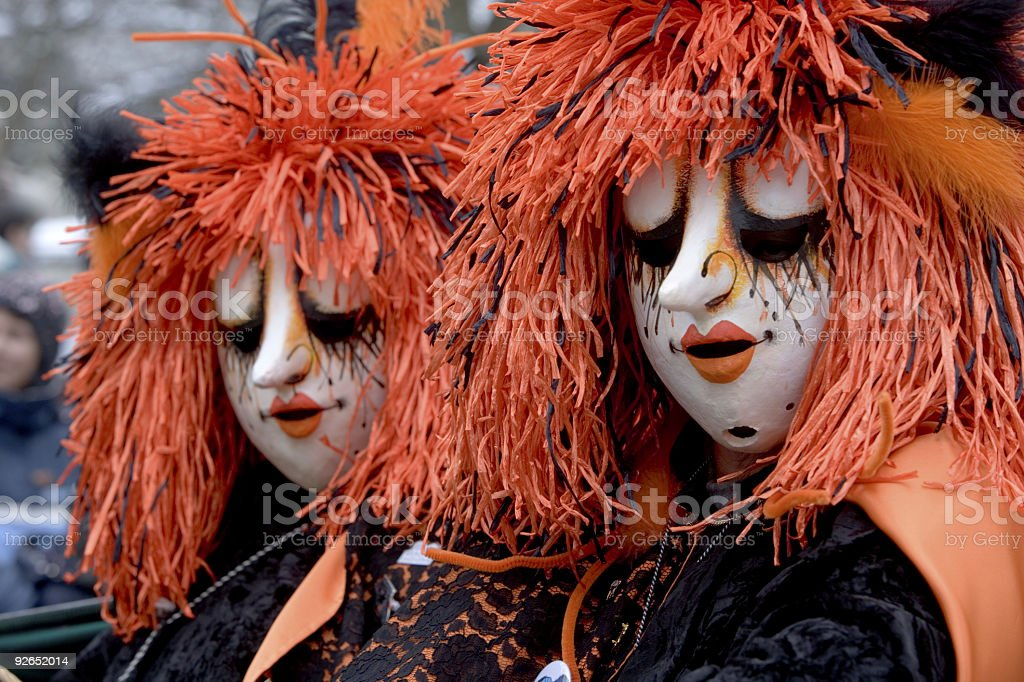 Two bizarre female masks at Fasnacht Festival in Basel (XXL) royalty-free stock photo