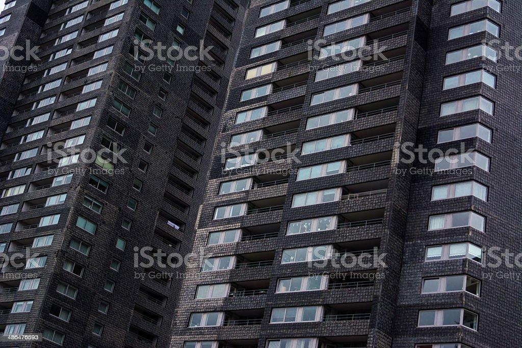 two black Apartmentbuilding towers royalty-free stock photo