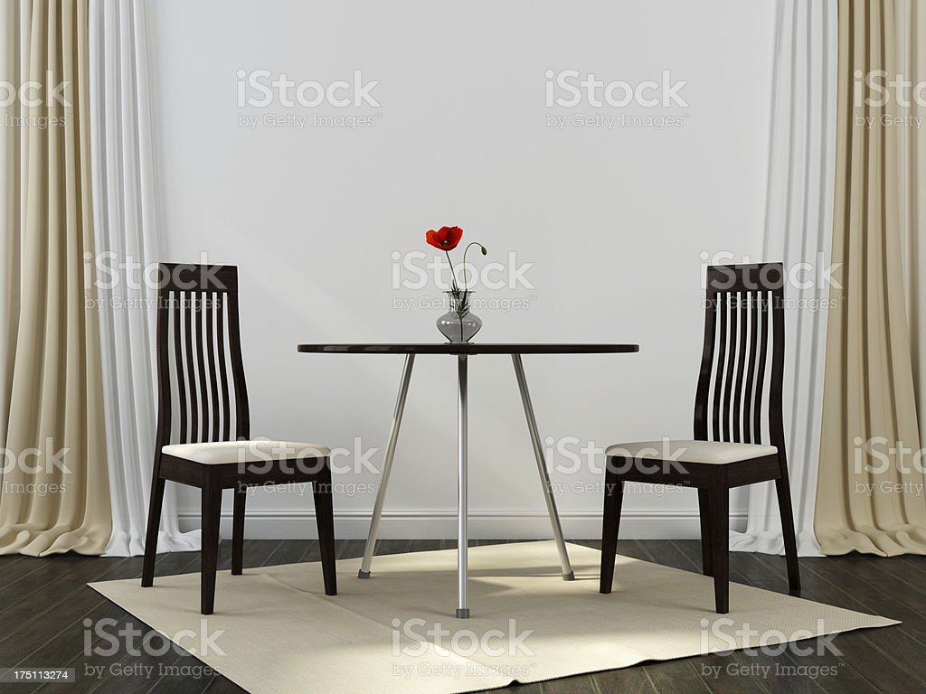 Two black chairs and a table royalty-free stock photo