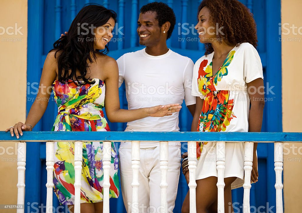 Two black dancer girls and their teacher royalty-free stock photo