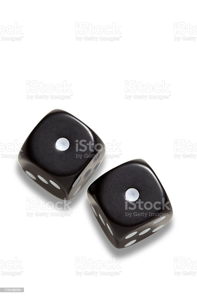 two black dices stock photo