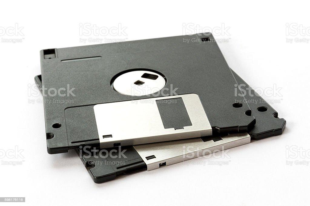Two black floppy disks stock photo