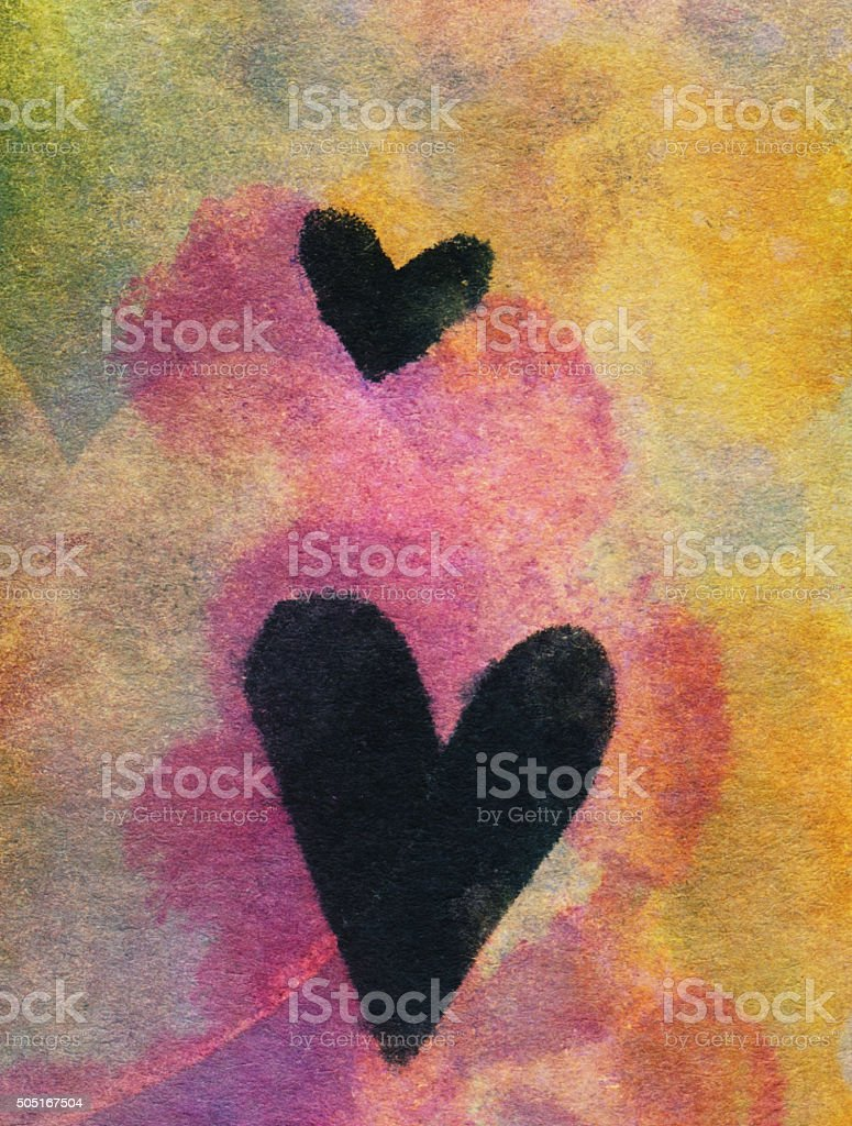 Two black hearts hand painted on a bright colorful background vector art illustration