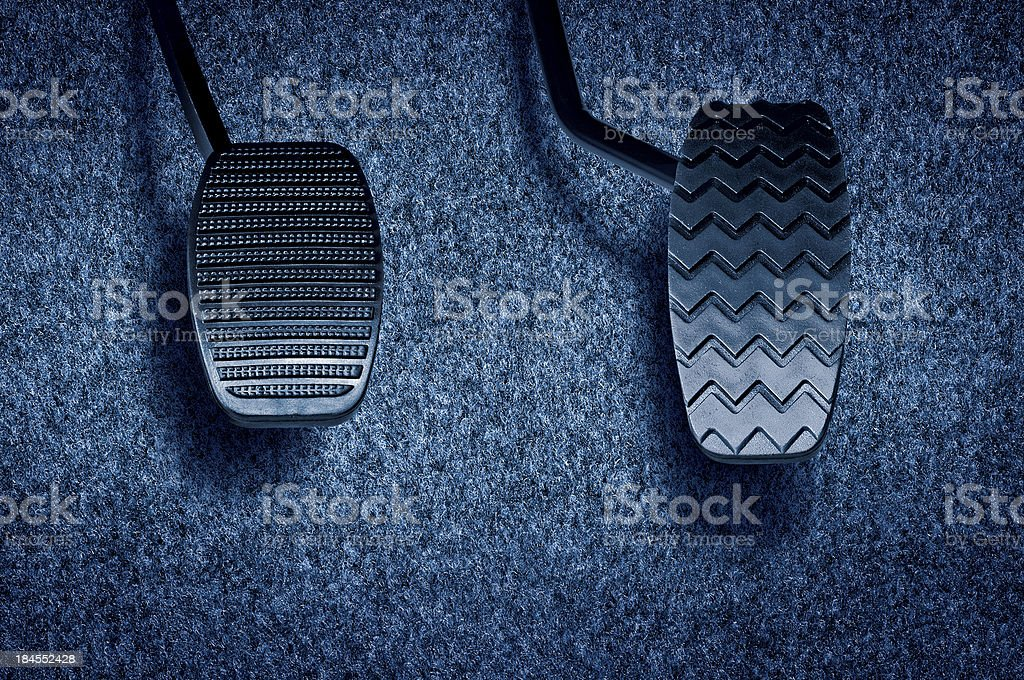 Two black pedals inside of a car stock photo