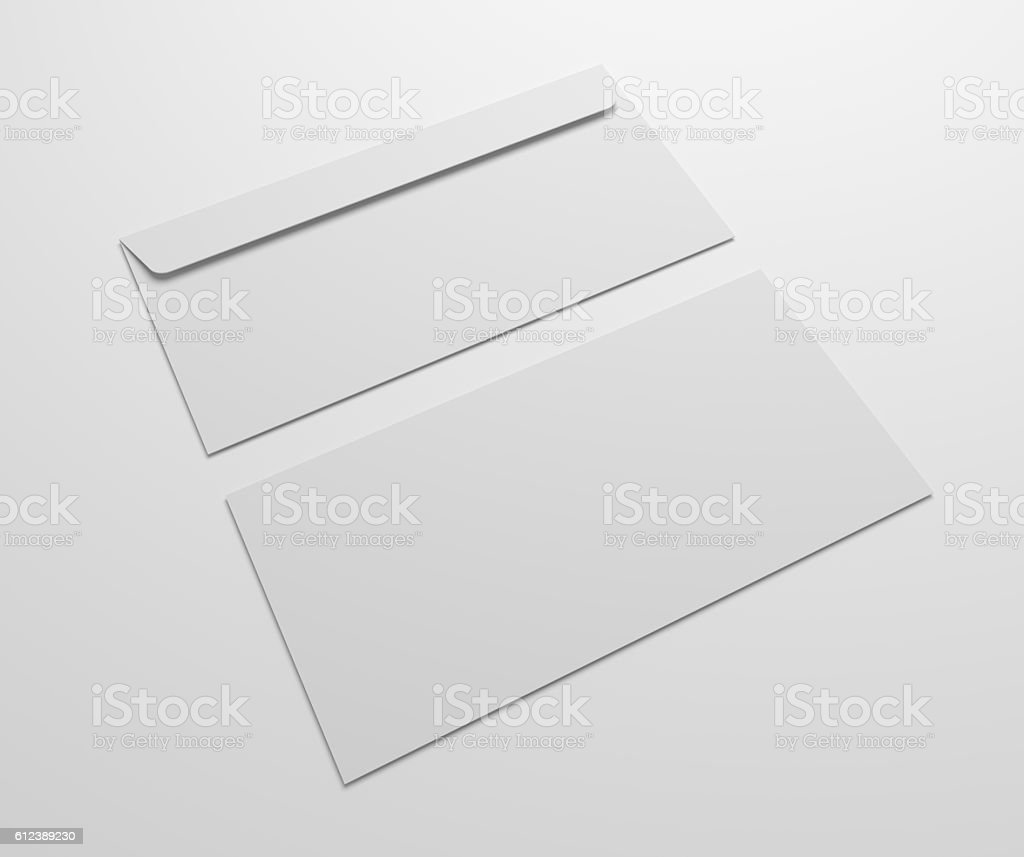 Two blank 3d illustration envelopes mock up. stock photo