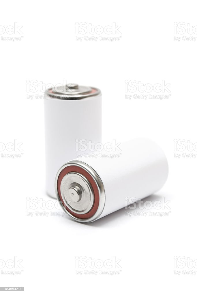 Two Blank Batteries royalty-free stock photo