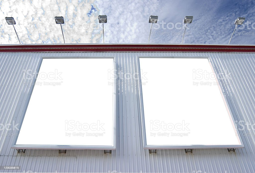 Two blank billboard with lamps royalty-free stock photo