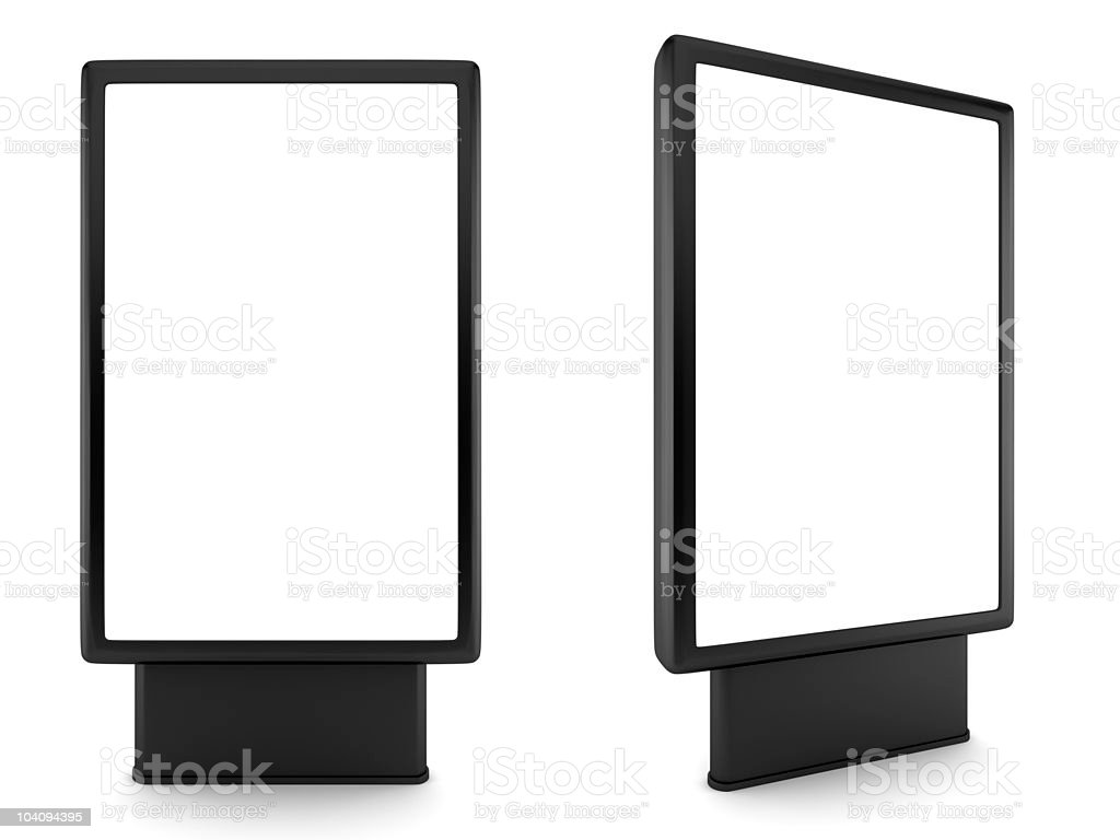Two blank black advertising billboards on white stock photo