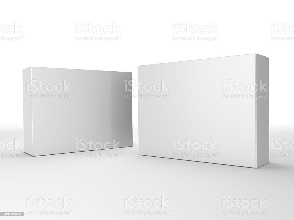 Two blank boxes on a white background stock photo