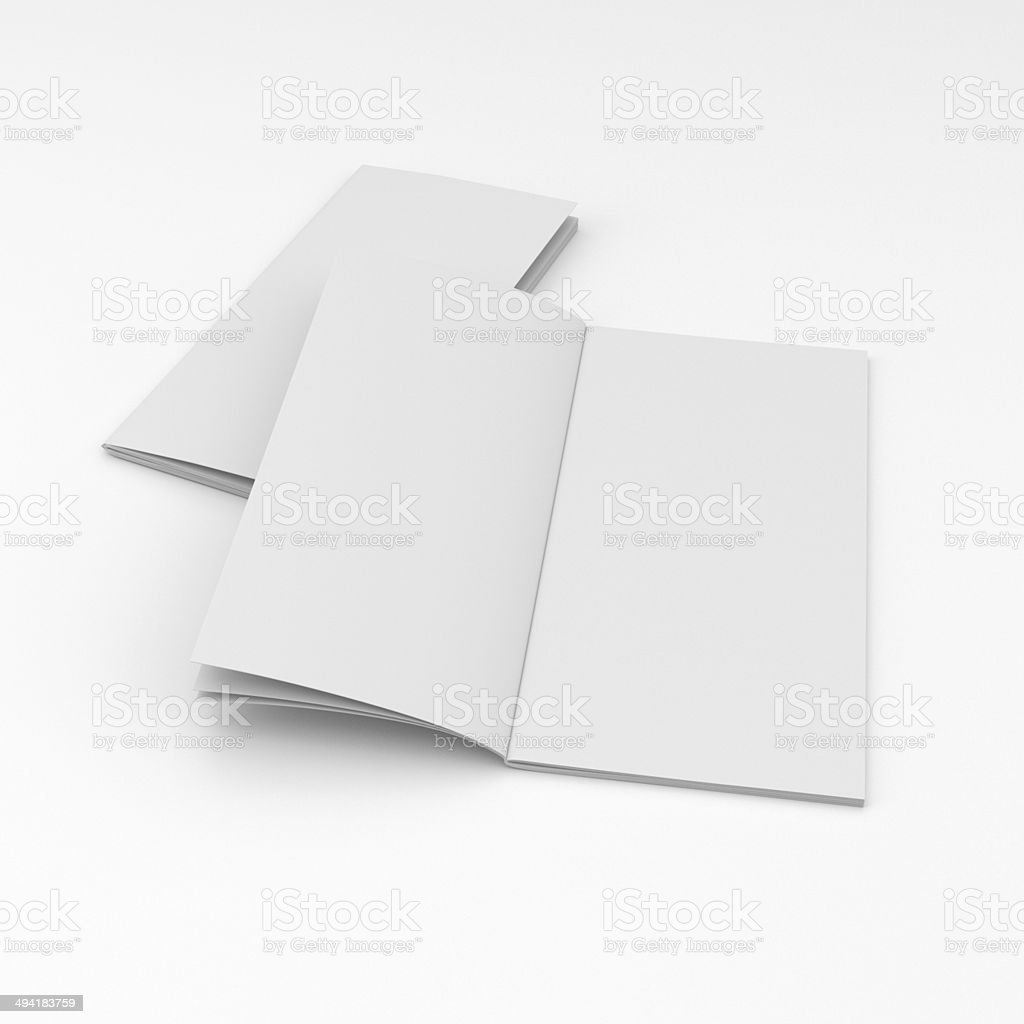 two blank brochures composition stock photo