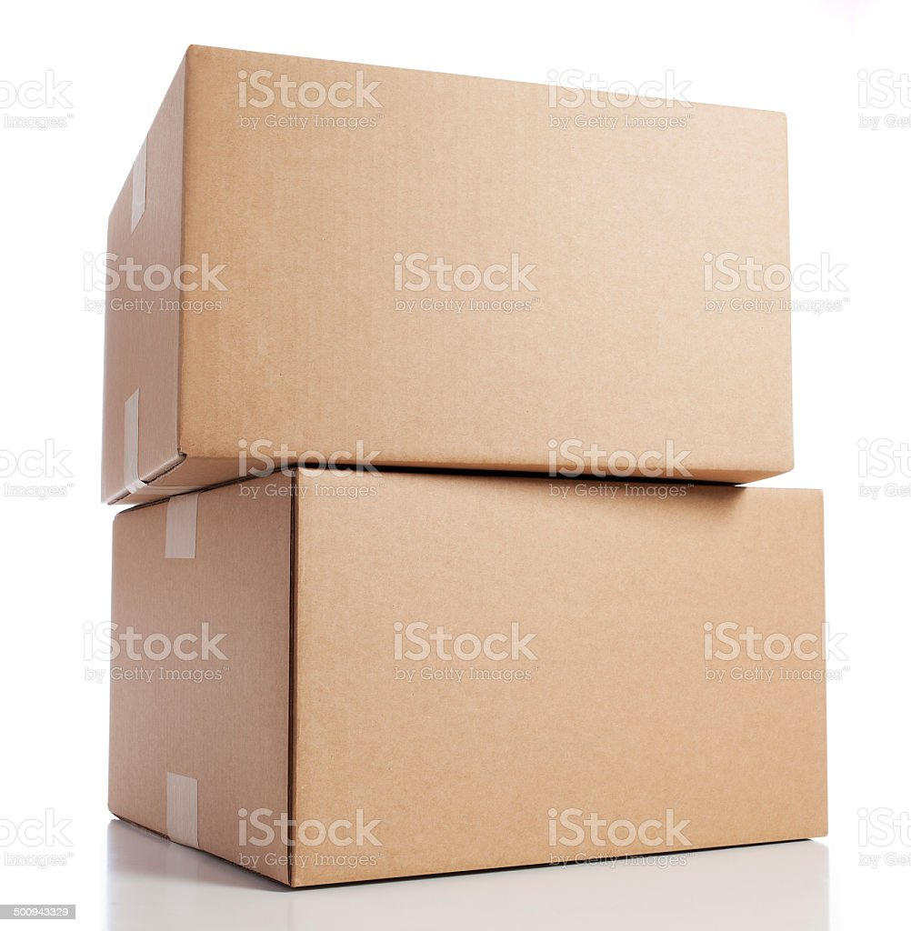 Two Blank Cardboard Boxes stock photo