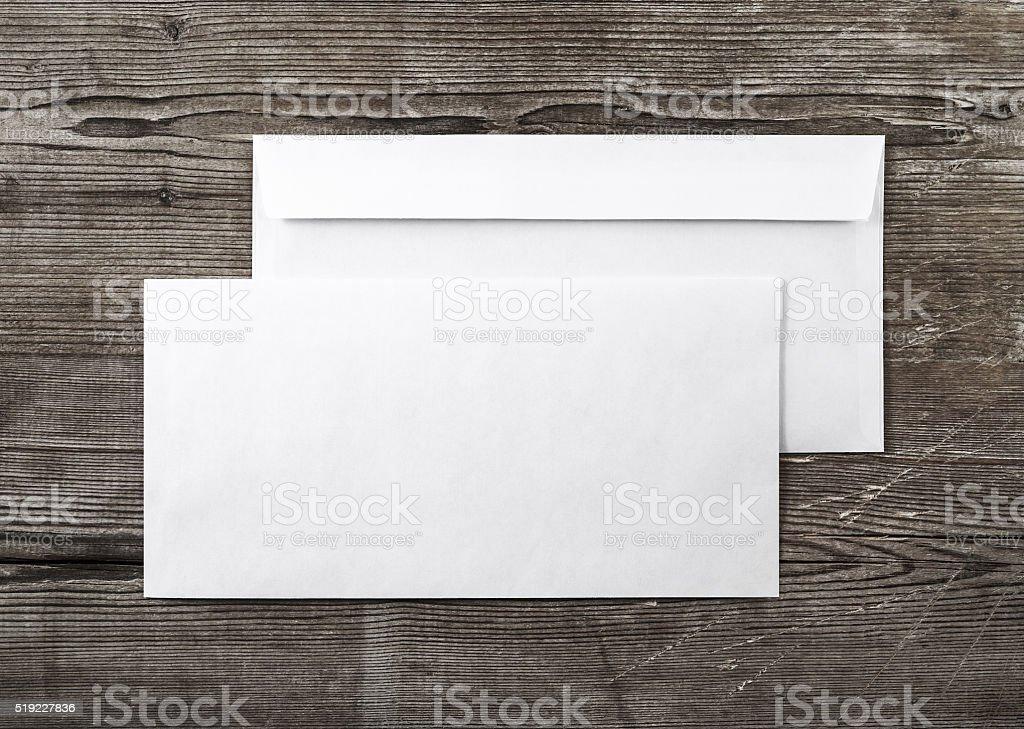Two blank envelopes stock photo