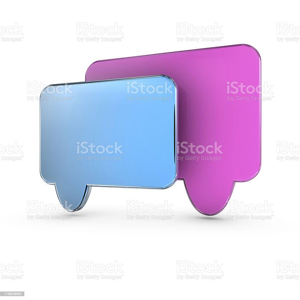 Two blank modern 3d speech bubbles royalty-free stock photo