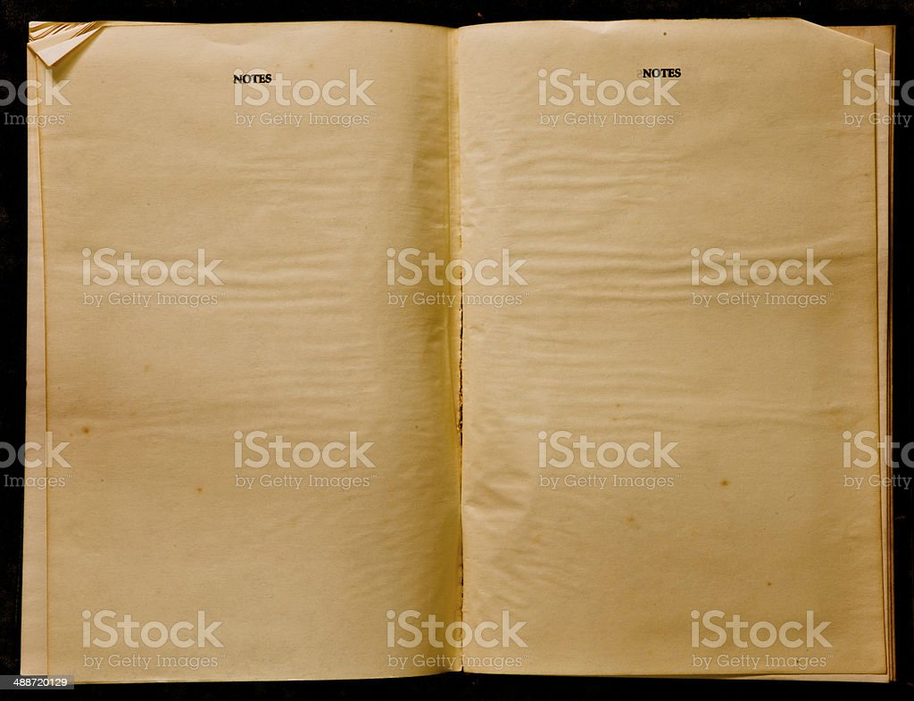 Two blank Pages in ancient Book, Note stock photo