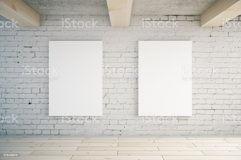 Two blank posters stock photo