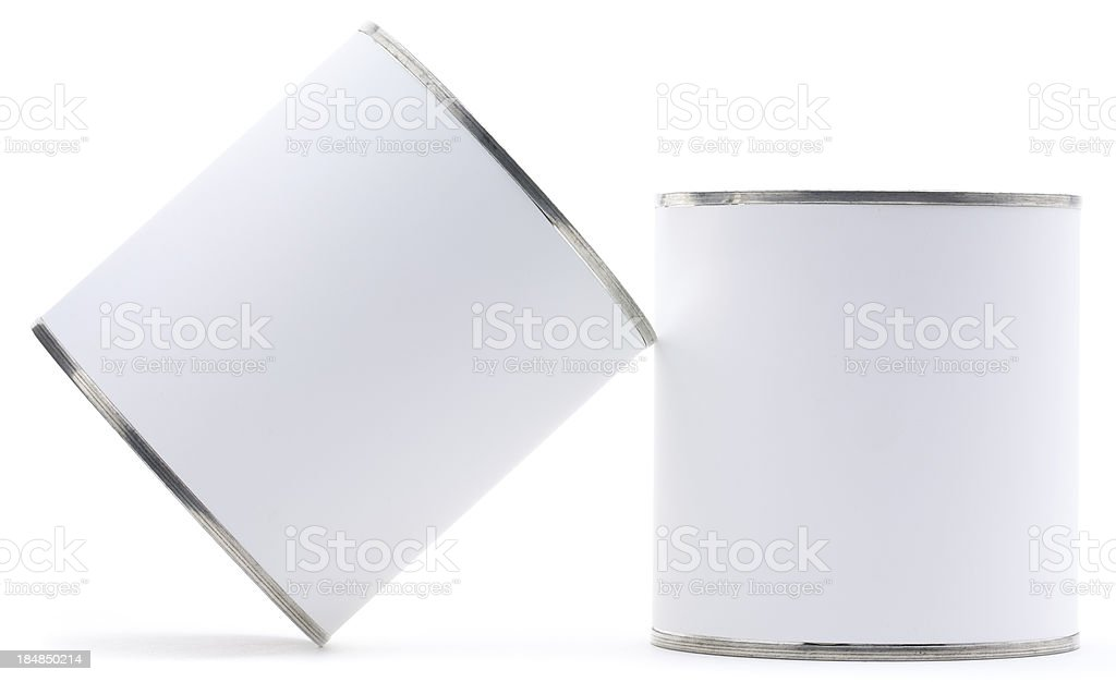 Two blank tin cans isolated royalty-free stock photo