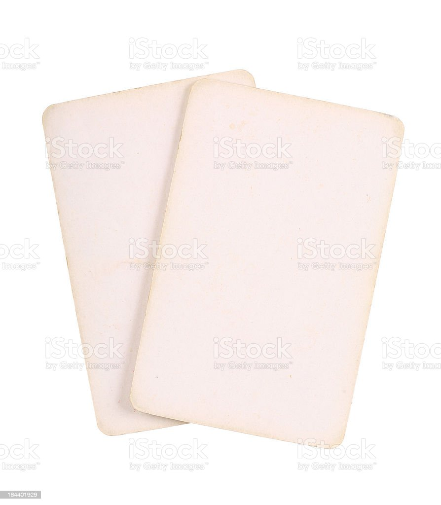 Two Blank Vintage Playing Cards royalty-free stock photo