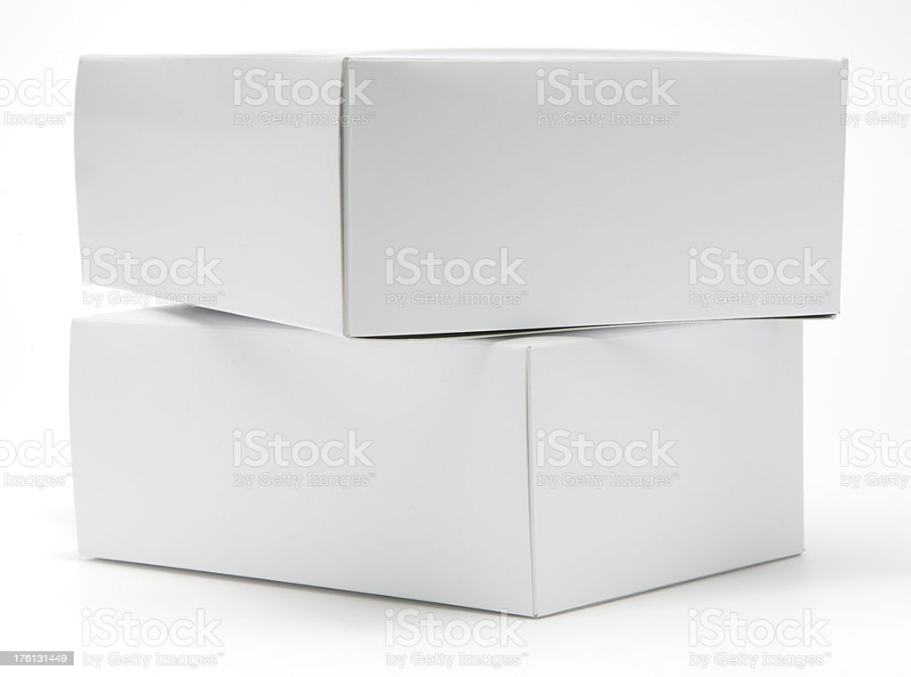 Two blank white cartons isolated royalty-free stock photo