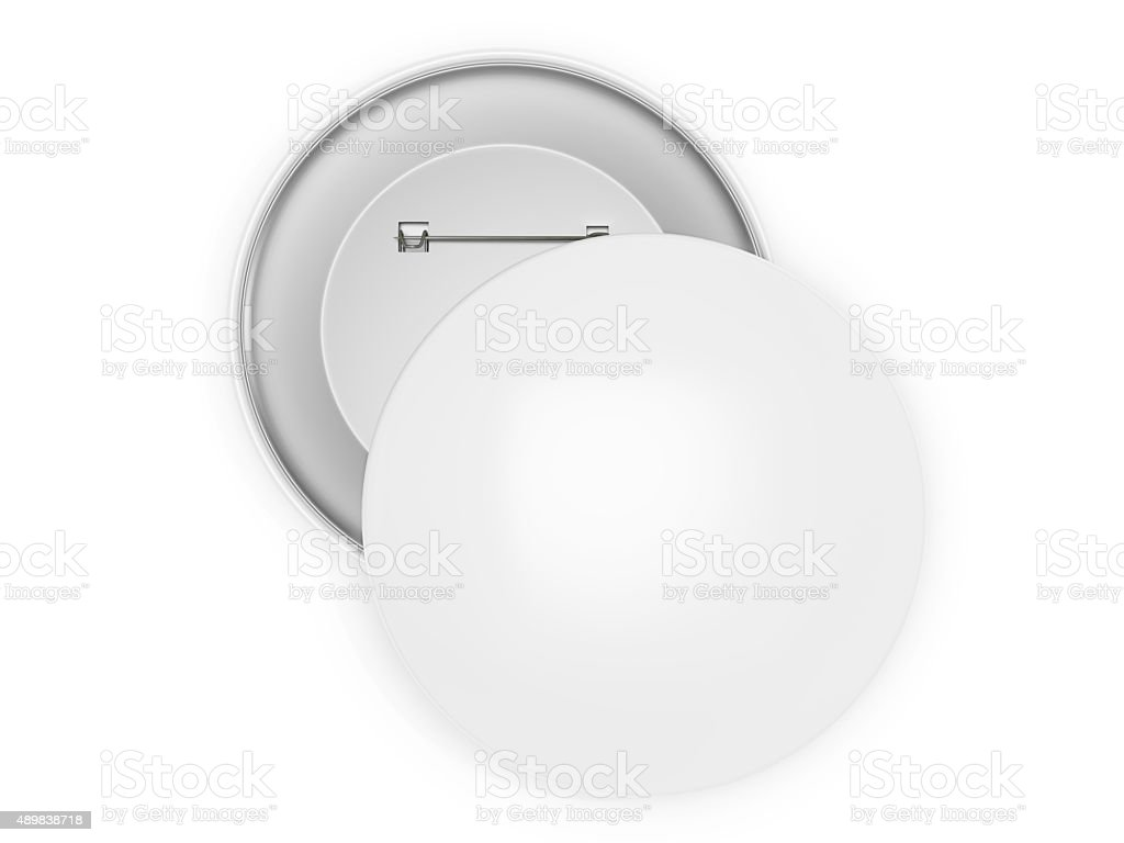 Two blank white circular pins isolated on a white background. stock photo