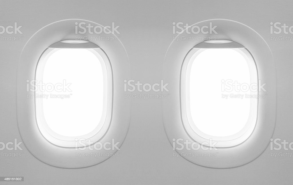 Two blank window plane, airplane white window, bright space travel stock photo