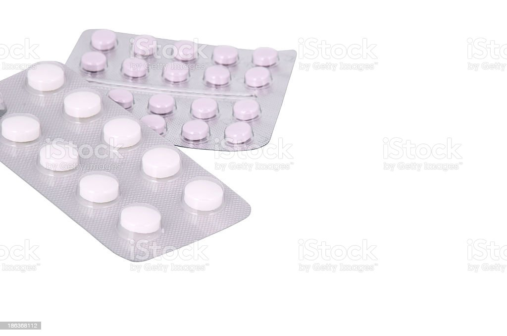 two blisters of pills closeup royalty-free stock photo