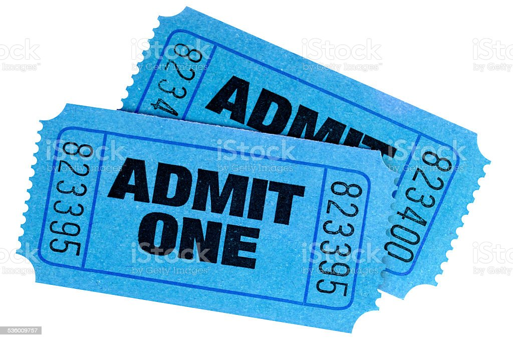 Two blue admit one tickets isolated on white background. stock photo