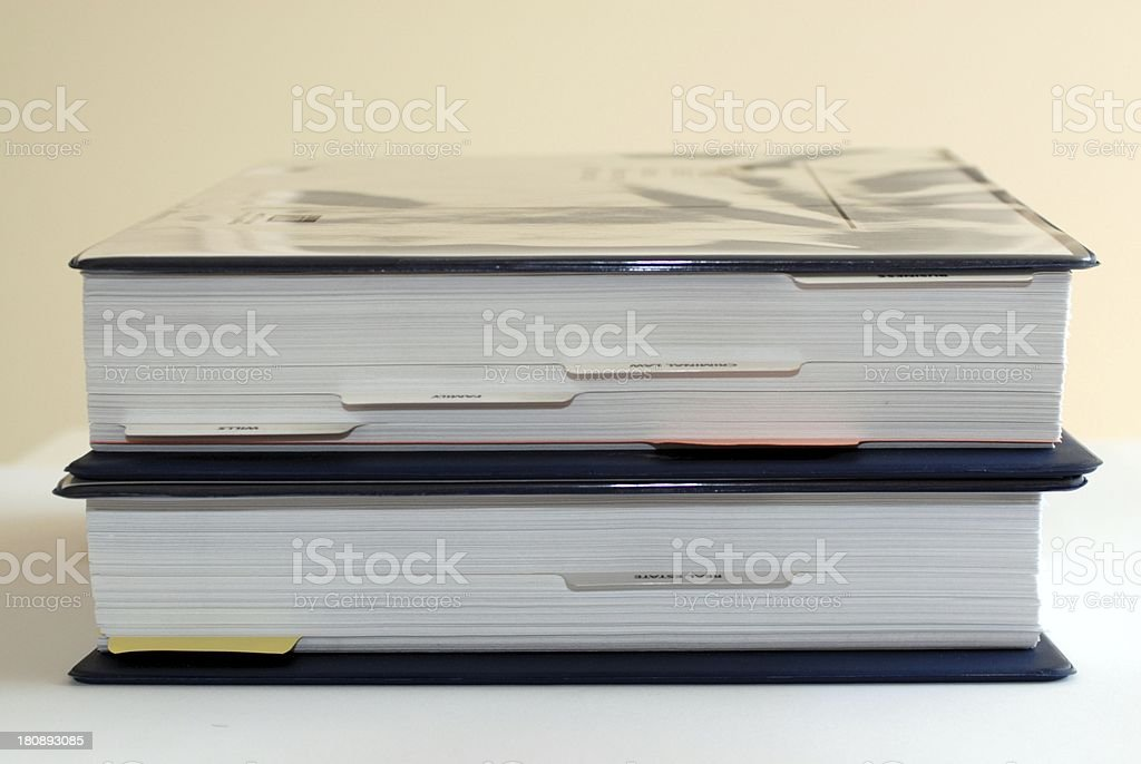 Two blue binders full of paper royalty-free stock photo