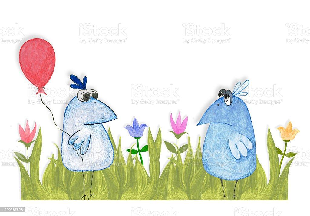 Two blue birds. stock photo