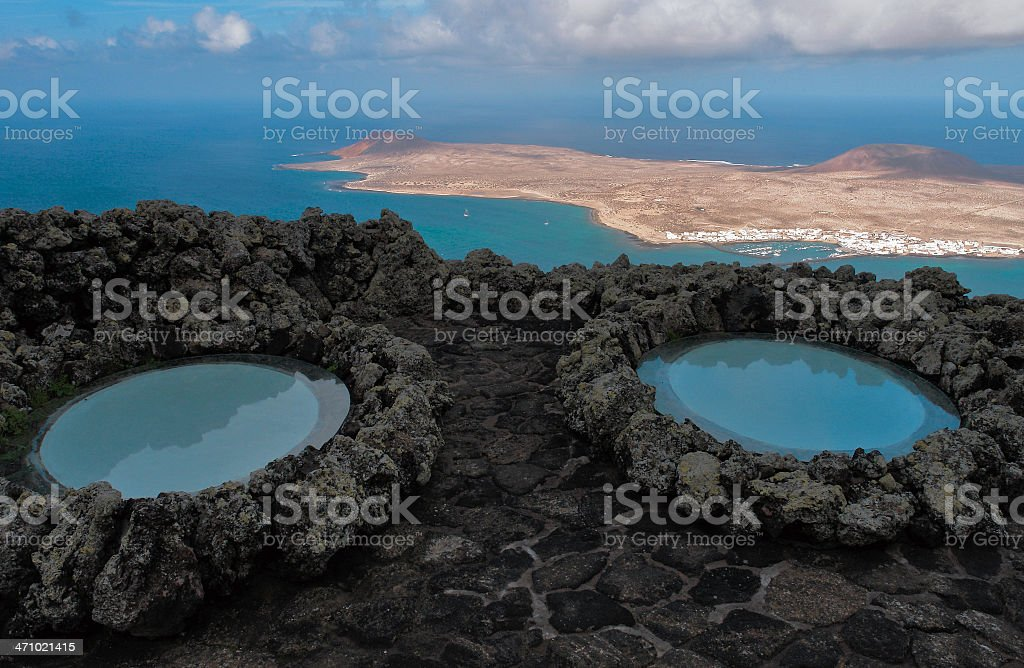 Two blue black rock round pools overlooking distant island stock photo