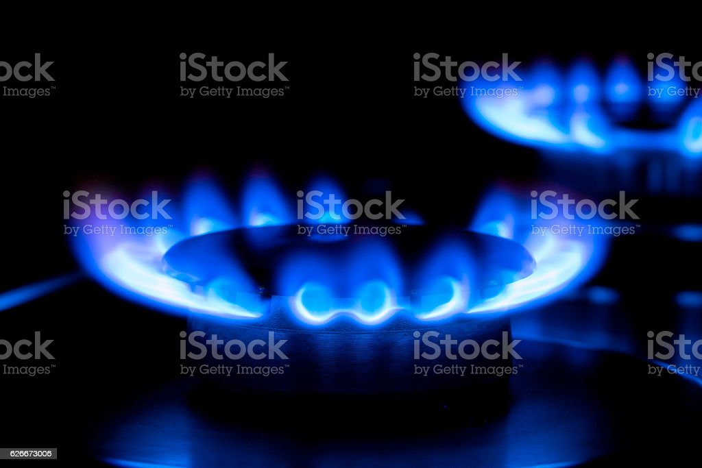 two blue flames stock photo