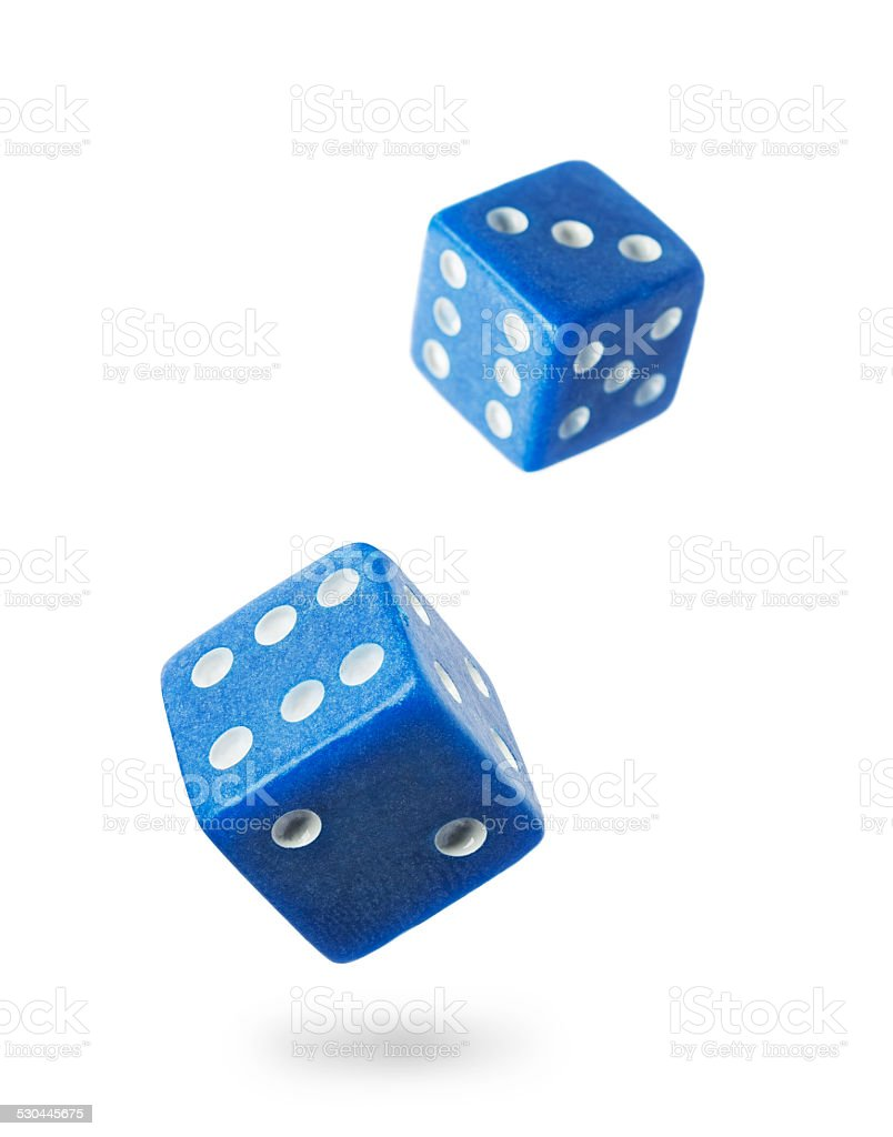 Two blue gambling dices stock photo