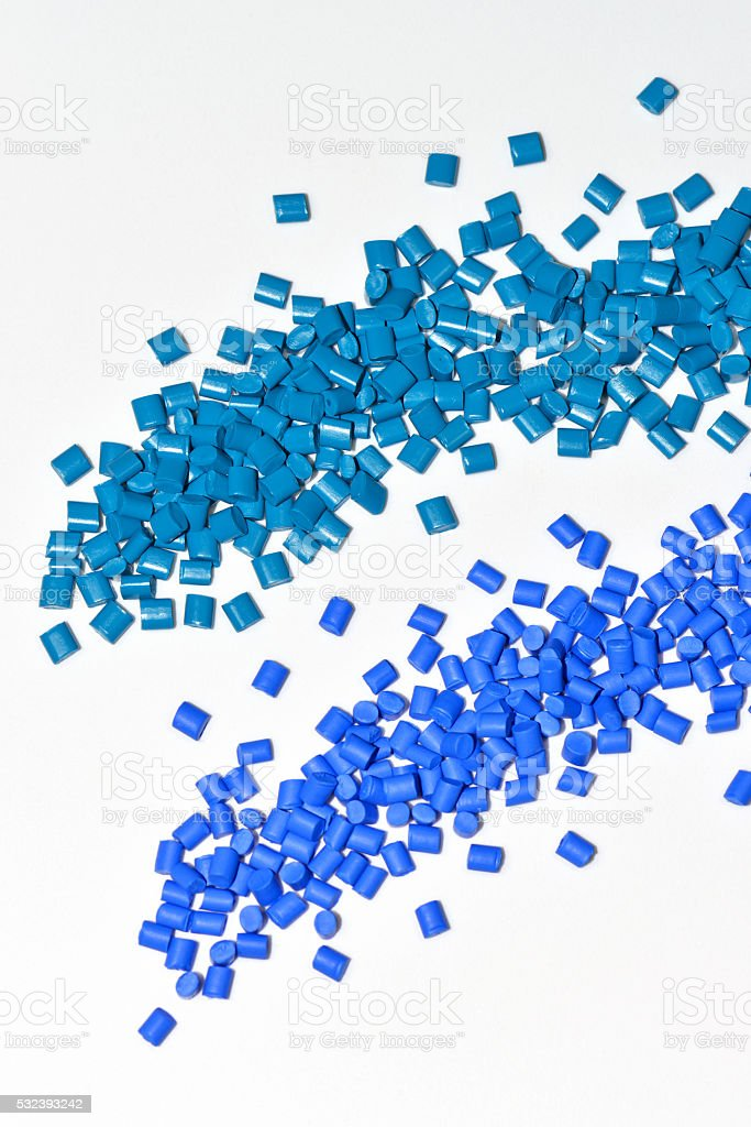 two blue polymer resins stock photo
