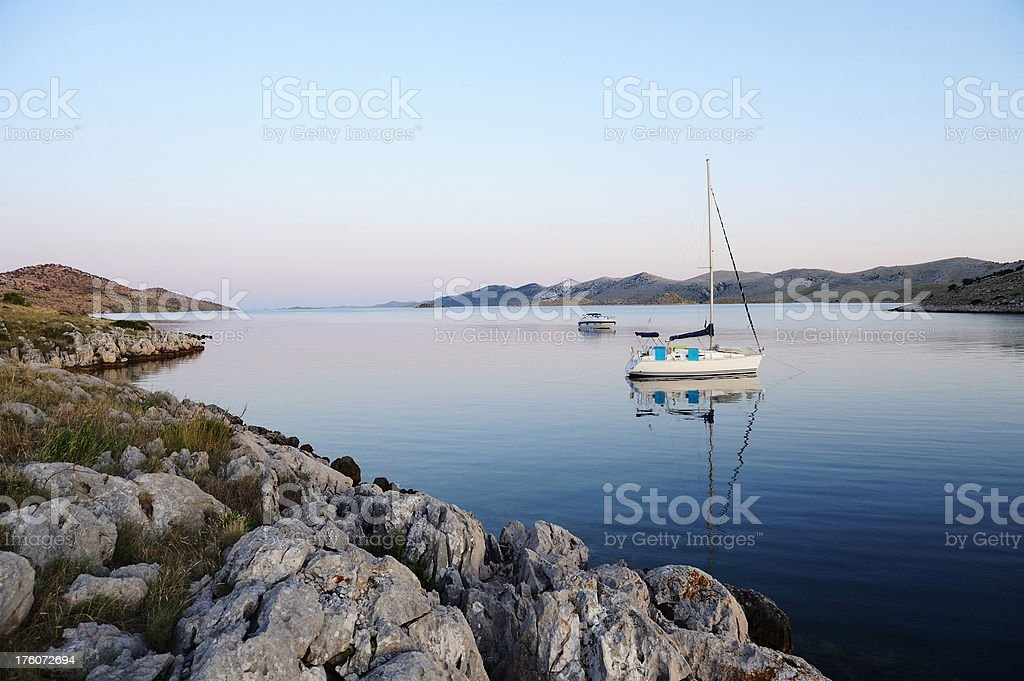 Two boats anchored royalty-free stock photo